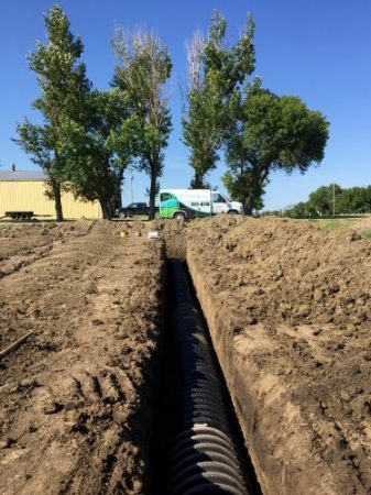 Septic system drain field installation near Pierre SD
